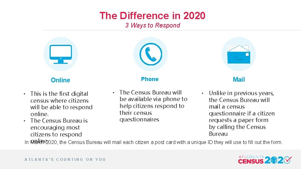 The Difference in 2020 3 Ways to Respond Online Phone Mail • The Census