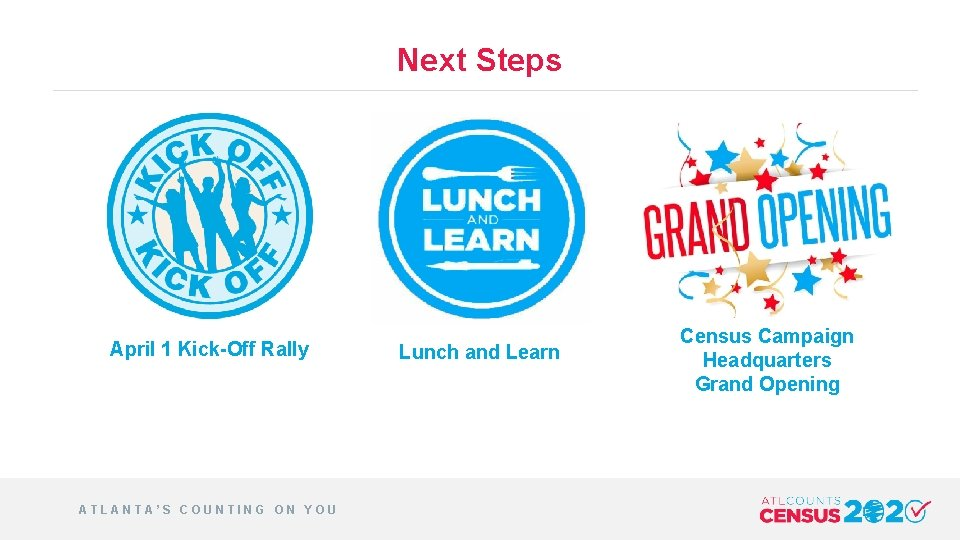 Next Steps April 1 Kick-Off Rally ATLANTA'S COUNTING ON YOU Lunch and Learn Census