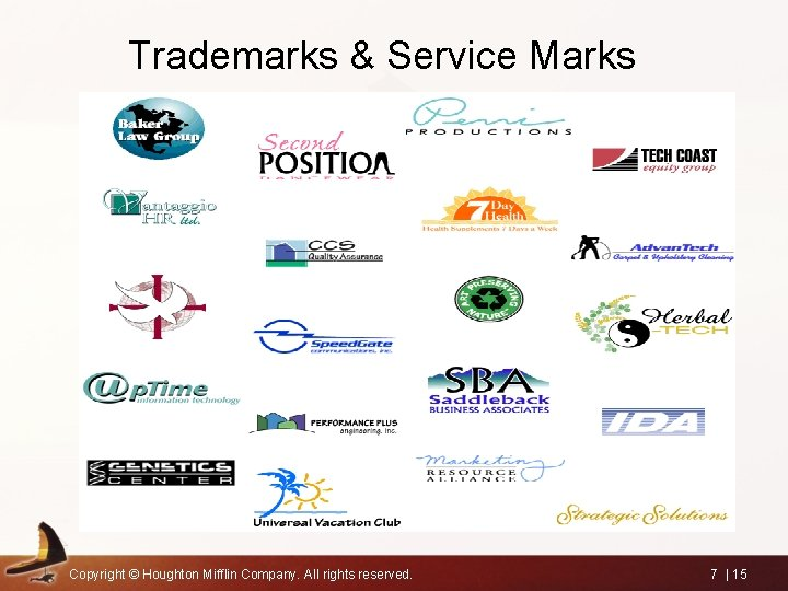 Trademarks & Service Marks Copyright © Houghton Mifflin Company. All rights reserved. 7  
