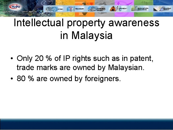 Intellectual property awareness in Malaysia • Only 20 % of IP rights such as