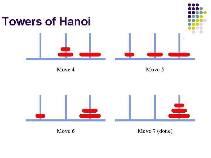 Towers of Hanoi Move 4 Move 5 Move 6 Move 7 (done)