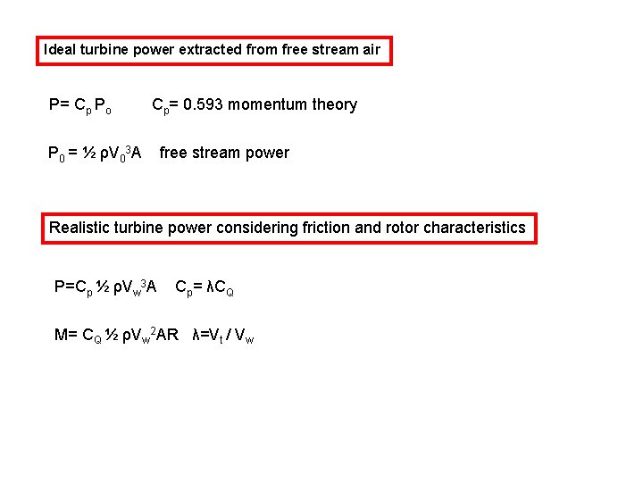 Ideal turbine power extracted from free stream air P= Cp Po Cp= 0. 593