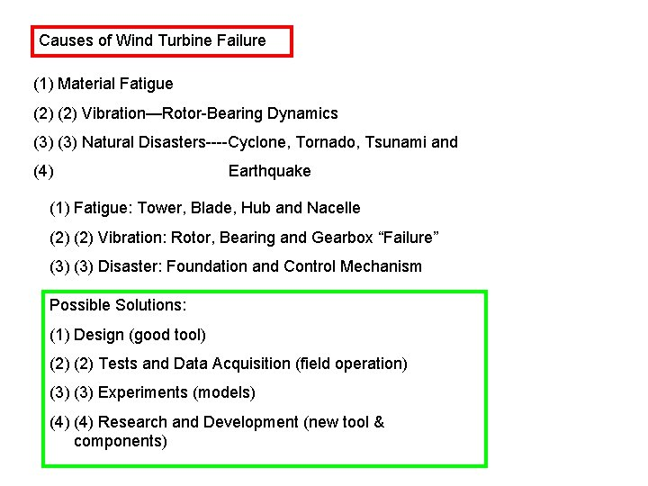 Causes of Wind Turbine Failure (1) Material Fatigue (2) Vibration—Rotor-Bearing Dynamics (3) Natural Disasters----Cyclone,