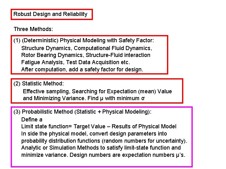 Robust Design and Reliability Three Methods: (1) (Deterministic) Physical Modeling with Safety Factor: Structure