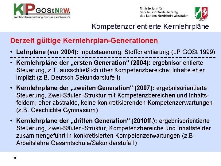 Kompetenzorientierte Kernlehrpläne Derzeit gültige Kernlehrplan-Generationen • Lehrpläne (vor 2004): Inputsteuerung, Stofforientierung (LP GOSt 1999)