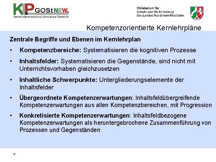 Kompetenzorientierte Kernlehrpläne Zentrale Begriffe und Ebenen im Kernlehrplan • Kompetenzbereiche: Systematisieren die kognitiven Prozesse