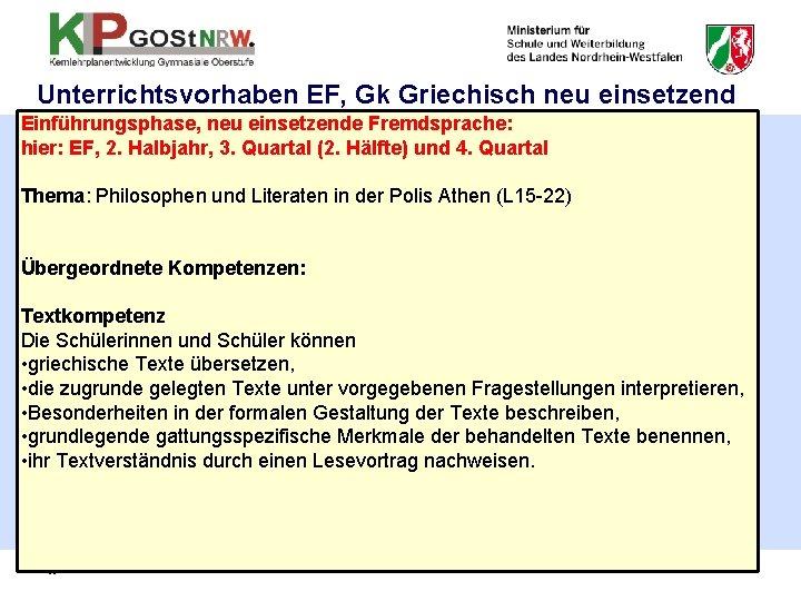 Unterrichtsvorhaben EF, Gk Griechisch neu einsetzend Einführungsphase, neu einsetzende Fremdsprache: hier: EF, 2. Halbjahr,