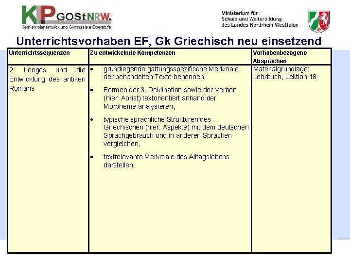 Unterrichtsvorhaben EF, Gk Griechisch neu einsetzend Unterrichtssequenzen Zu entwickelnde Kompetenzen 2. Longos und die