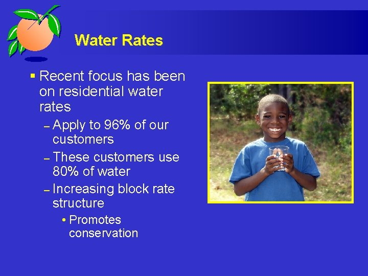 Water Rates § Recent focus has been on residential water rates Apply to 96%
