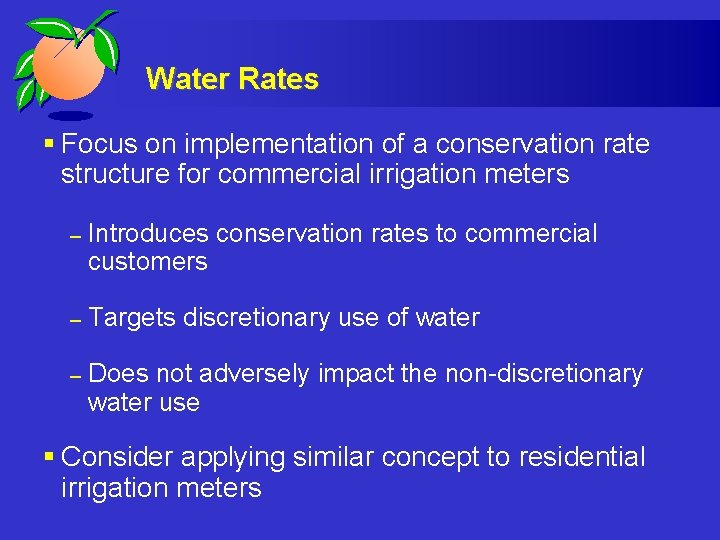 Water Rates § Focus on implementation of a conservation rate structure for commercial irrigation