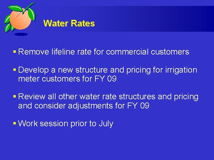 Water Rates § Remove lifeline rate for commercial customers § Develop a new structure