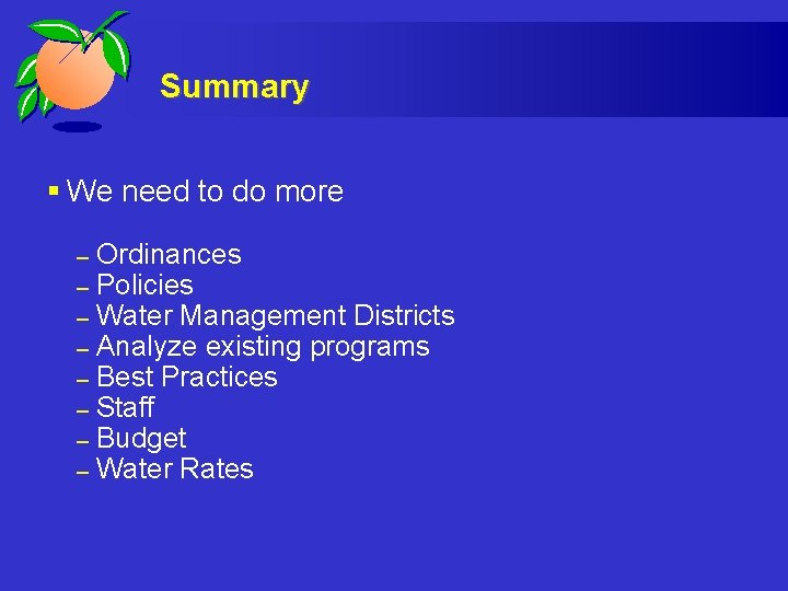Summary § We need to do more – – – – Ordinances Policies Water