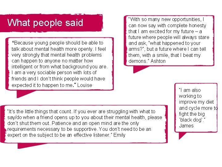 """What people said """"Because young people should be able to talk about mental health"""