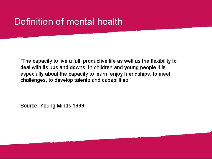 """Definition of mental health """"The capacity to live a full, productive life as well"""