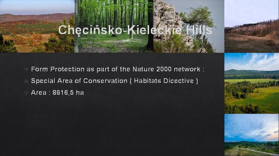 Chęcińsko-Kieleckie Hills Form Protection as part of the Nature 2000 network : Special Area