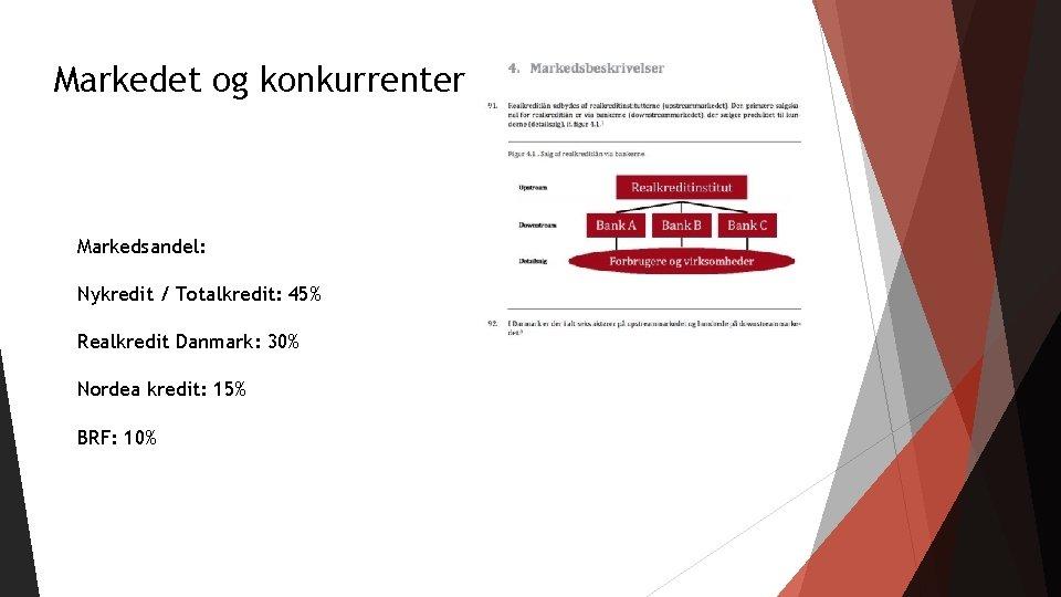 Markedet og konkurrenter Markedsandel: Nykredit / Totalkredit: 45% Realkredit Danmark: 30% Nordea kredit: 15%