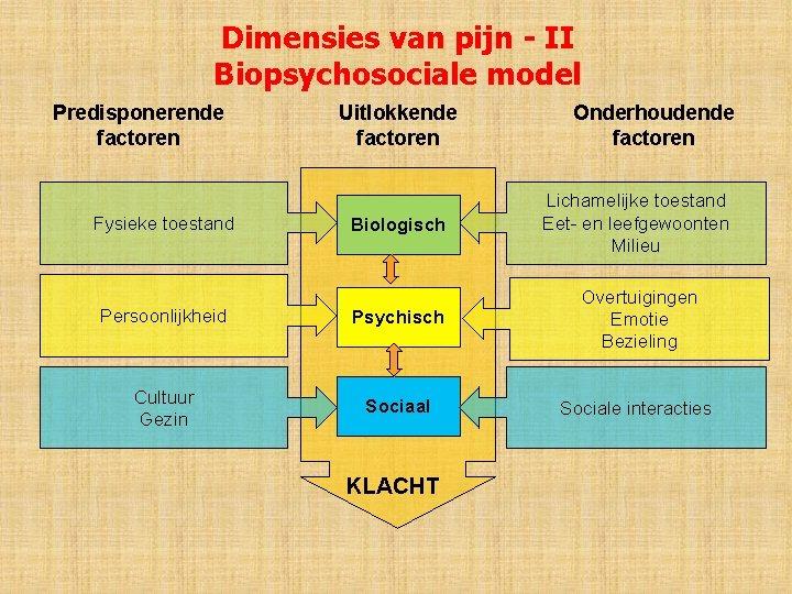 Dimensies van pijn - II Biopsychosociale model Predisponerende factoren Uitlokkende factoren Onderhoudende factoren Biologisch