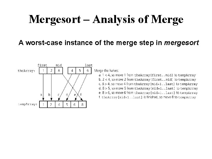 Mergesort – Analysis of Merge A worst-case instance of the merge step in mergesort