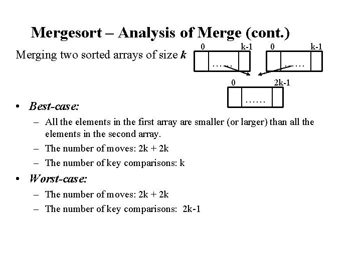 Mergesort – Analysis of Merge (cont. ) Merging two sorted arrays of size k