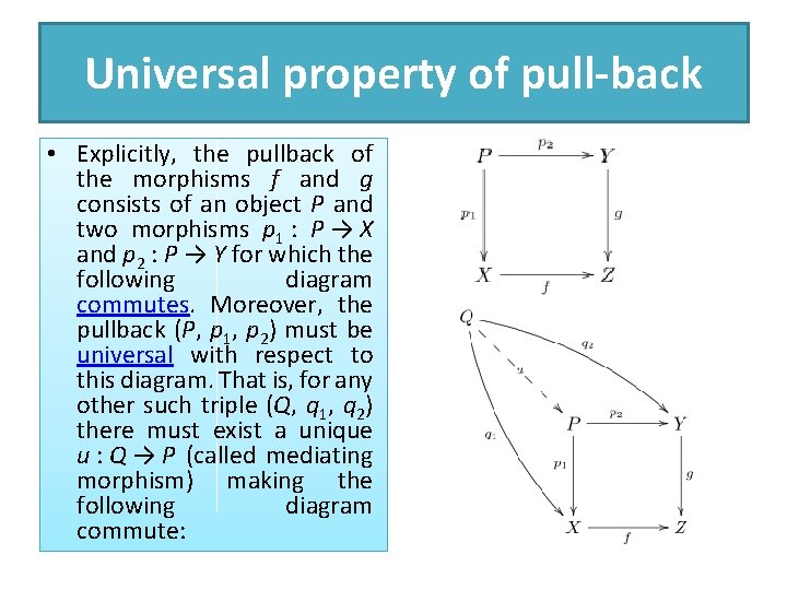 Universal property of pull-back • Explicitly, the pullback of the morphisms f and g