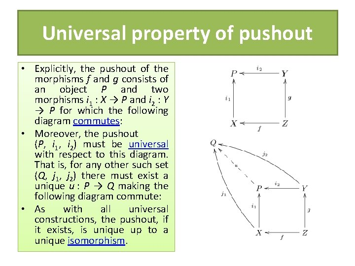 Universal property of pushout • Explicitly, the pushout of the morphisms f and g