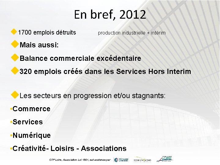 En bref, 2012 u 1700 emplois détruits production industrielle + intérim u. Mais aussi: