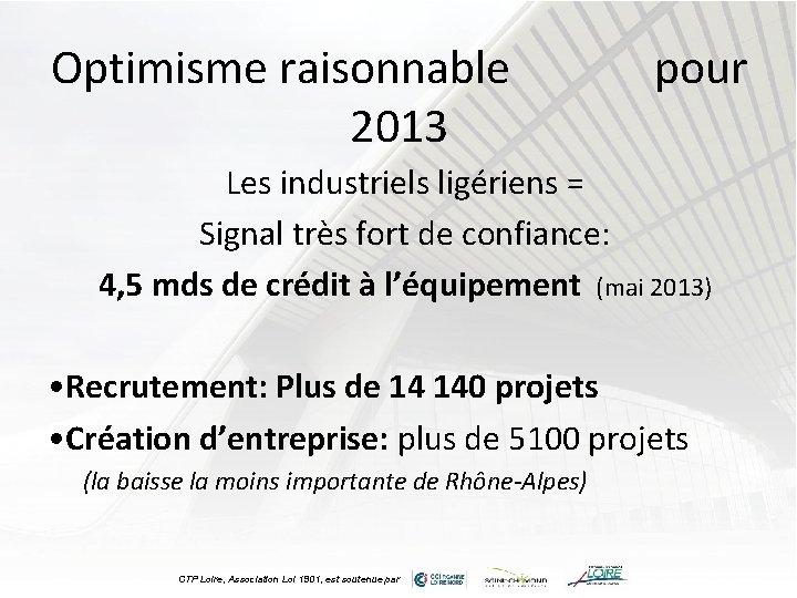 Optimisme raisonnable 2013 pour Les industriels ligériens = Signal très fort de confiance: 4,