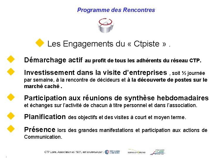 Programme des Rencontres u Les Engagements du « Ctpiste » . u u Démarchage