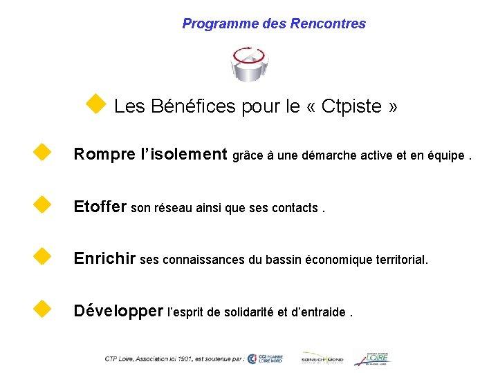 Programme des Rencontres u Les Bénéfices pour le « Ctpiste » u Rompre l'isolement