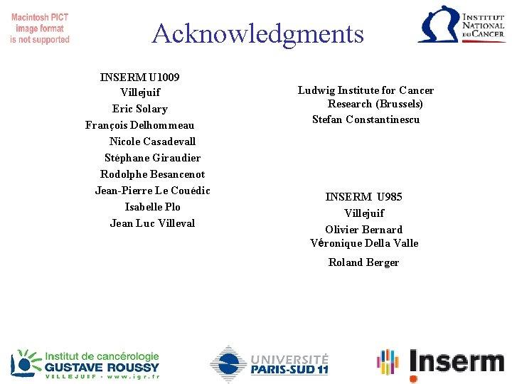 Acknowledgments INSERM U 1009 Villejuif Eric Solary François Delhommeau Nicole Casadevall Stéphane Giraudier Rodolphe