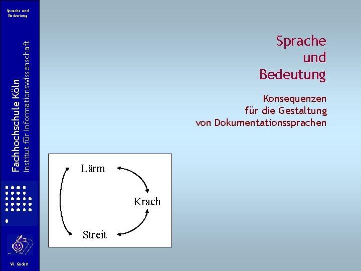 Institut für Informationswissenschaft Fachhochschule Köln Sprache und Bedeutung Konsequenzen für die Gestaltung von Dokumentationssprachen
