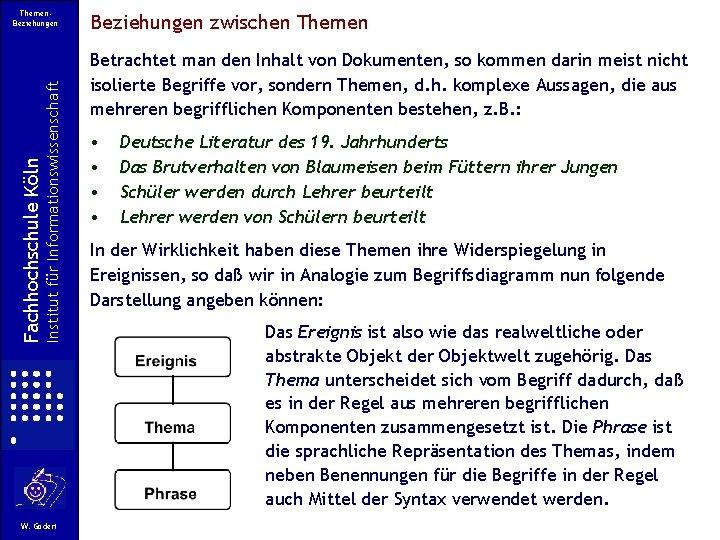 Institut für Informationswissenschaft Fachhochschule Köln Themen. Beziehungen W. Gödert Beziehungen zwischen Themen Betrachtet man