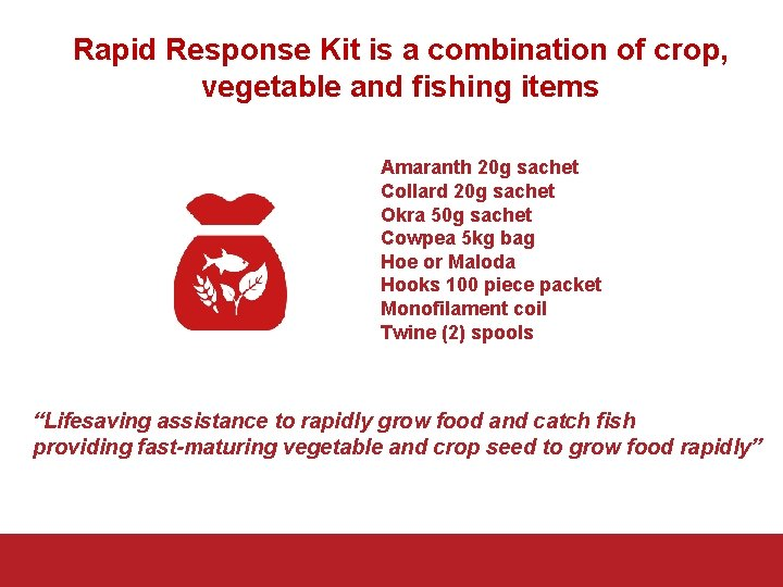 Rapid Response Kit is a combination of crop, vegetable and fishing items Amaranth 20
