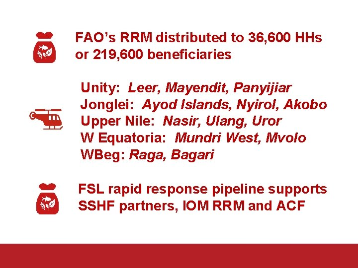 FAO's RRM distributed to 36, 600 HHs or 219, 600 beneficiaries Unity: Leer, Mayendit,