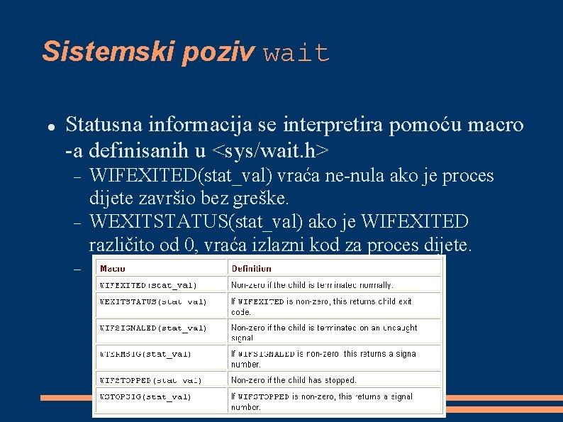 Sistemski poziv wait Statusna informacija se interpretira pomoću macro -a definisanih u <sys/wait. h>
