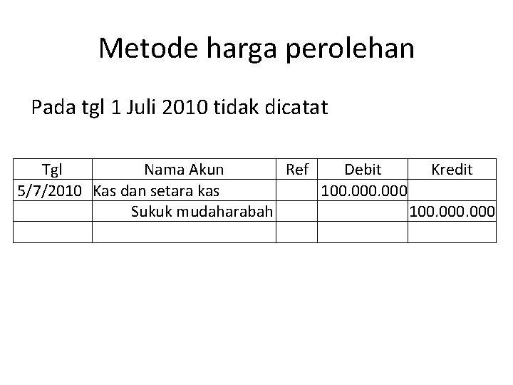 Metode harga perolehan Pada tgl 1 Juli 2010 tidak dicatat Tgl Nama Akun Ref