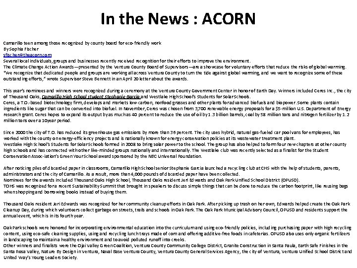 In the News : ACORN Camarillo teen among those recognized by county board for