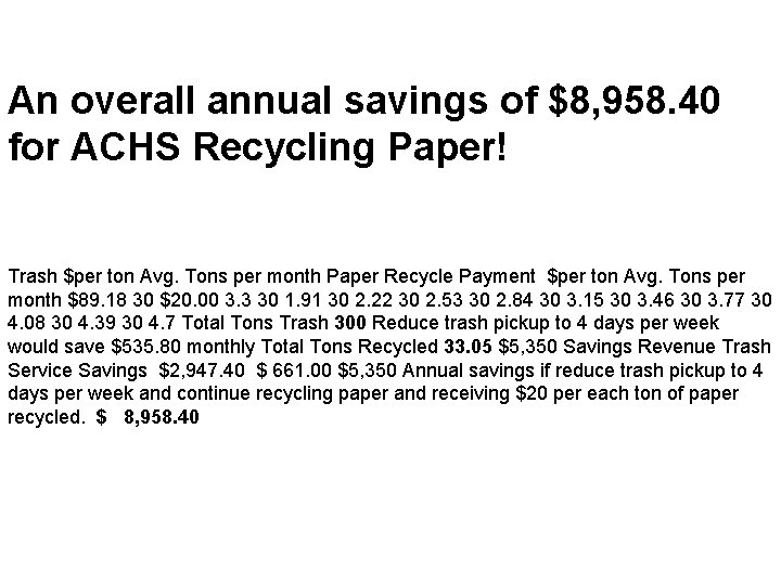 An overall annual savings of $8, 958. 40 for ACHS Recycling Paper! Trash $per