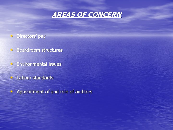AREAS OF CONCERN • Directors' pay • Boardroom structures • Environmental issues • Labour