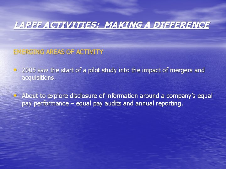LAPFF ACTIVITIES: MAKING A DIFFERENCE EMERGING AREAS OF ACTIVITY • 2005 saw the start