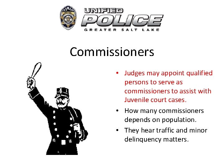 Commissioners • Judges may appoint qualified persons to serve as commissioners to assist with