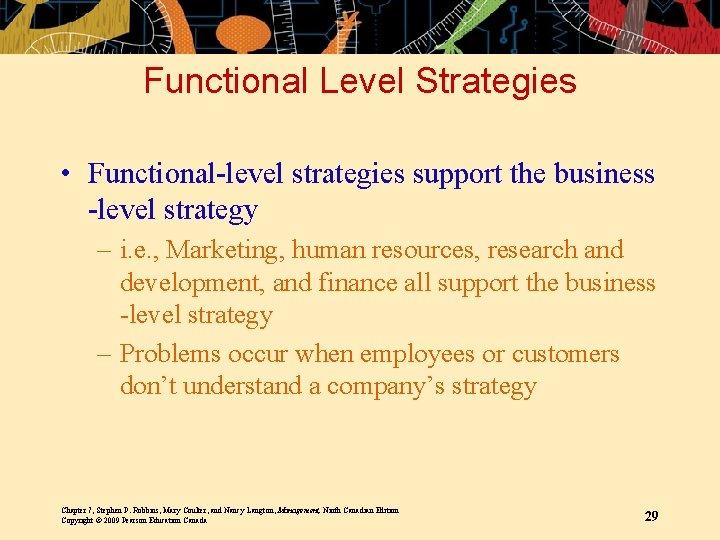 Functional Level Strategies • Functional-level strategies support the business -level strategy – i. e.