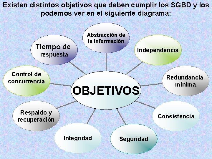 Existen distintos objetivos que deben cumplir los SGBD y los podemos ver en el