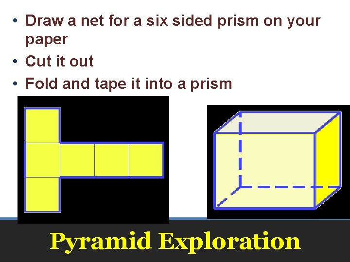 • Draw a net for a six sided prism on your paper •