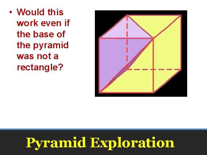 • Would this work even if the base of the pyramid was not