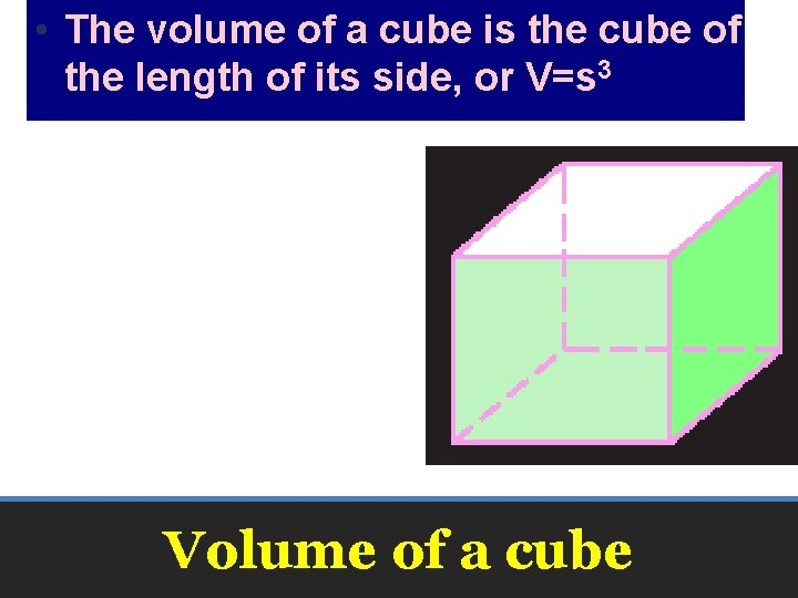 • The volume of a cube is the cube of the length of
