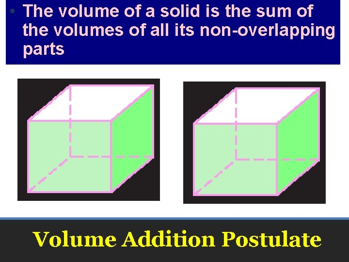 • The volume of a solid is the sum of the volumes of