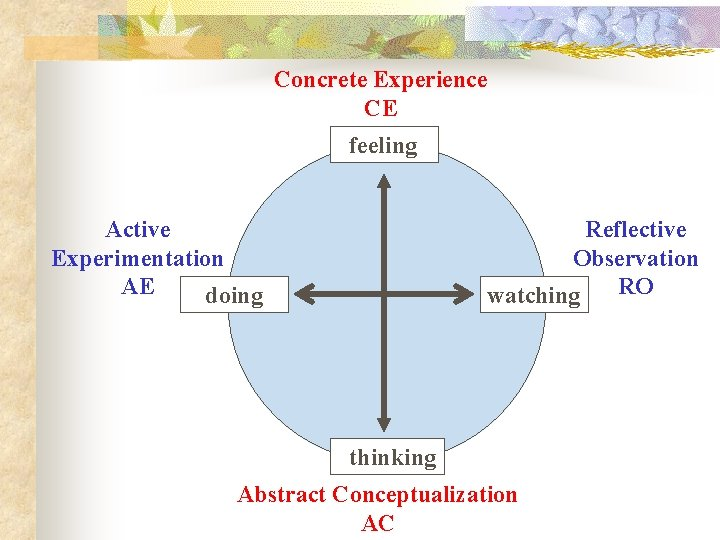 Concrete Experience CE feeling Active Experimentation AE doing Reflective Observation RO watching thinking Abstract