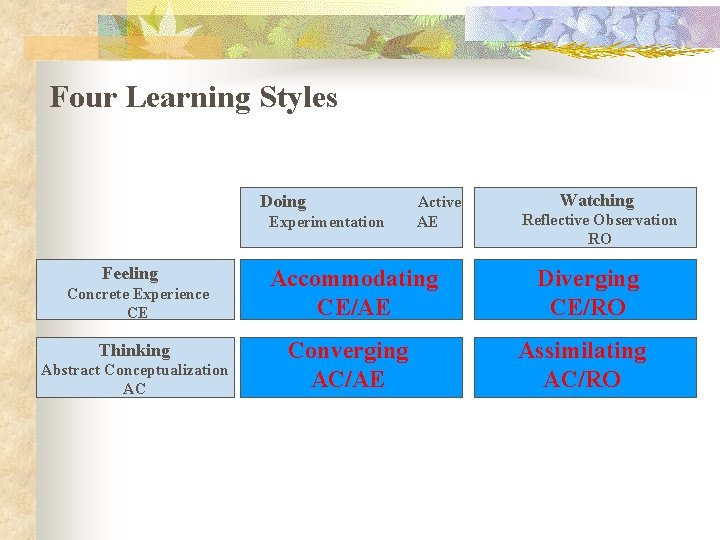 Four Learning Styles Doing Experimentation Feeling Concrete Experience CE Thinking Abstract Conceptualization AC Active