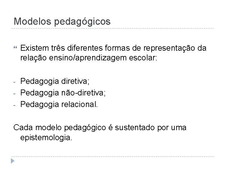 Modelos pedagógicos Existem três diferentes formas de representação da relação ensino/aprendizagem escolar: - Pedagogia